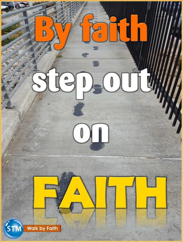 picture of foot steps on pavement for by faith lesson